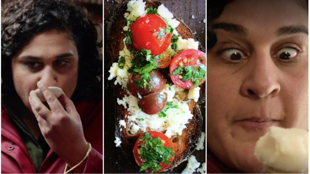 Samin Nosrat reacting with enthusiasm to food; also one of the dishes prepared in the course of Salt, Fat, Acid, Heat